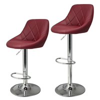 Homdox 2pcs Synthetic Adjustable Swivel Bar Stool Stainless Steel Pneumatic Stent Chair 3 Colors