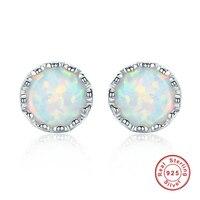 Weiß Opal Piercing Ohrstecker für Frauen Körperschmuck 925 Sterling Silber Ohrringe