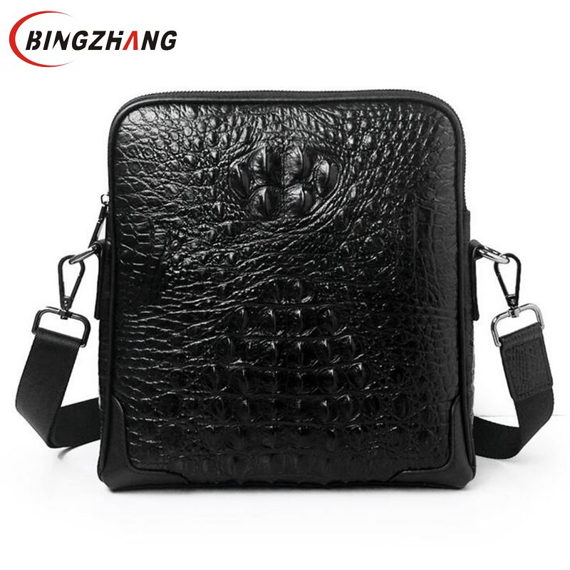 Genuine Leather Men Bags Hot Sale Male Small Messenger Bag Man Crossbody Shoulder Bag Men's Travel Crocodile Bags L4-2817 freeshipping 2016 genuine leather man small bag vintage clutch bag crocodile pattern leather men messenger bags 7267c