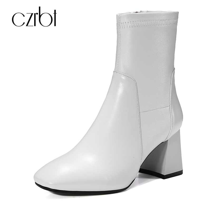CZRBT Fashion Women High Heel Stretch Boots Genuine Cow Leather Mid-Calf Boots Women 2018 Spring Autumn High Quality Short Boots