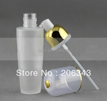 80ml frosted glass bottle with gold press pump  ,lotion bottle , Cosmetic Packaging,glass bottle