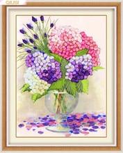 Needlework,DIY Ribbon Cross stitch Set for ribbon Embroidery kit, European favor vase flower Cross-Stitch painting wall decor