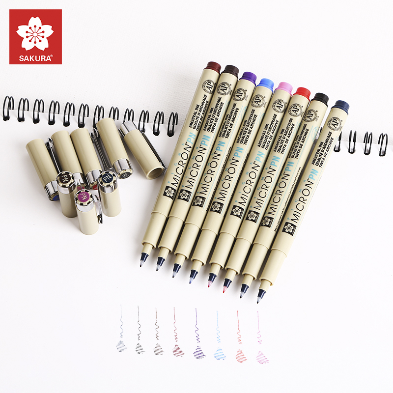 SAKURA 8 Colors Manga Drawing Sketch Marker Fine Liner Pens Needle Pen Liner Brush Graffiti Art Marker Painting Art Supplies gs2964 ine3 integrated circuit mr li