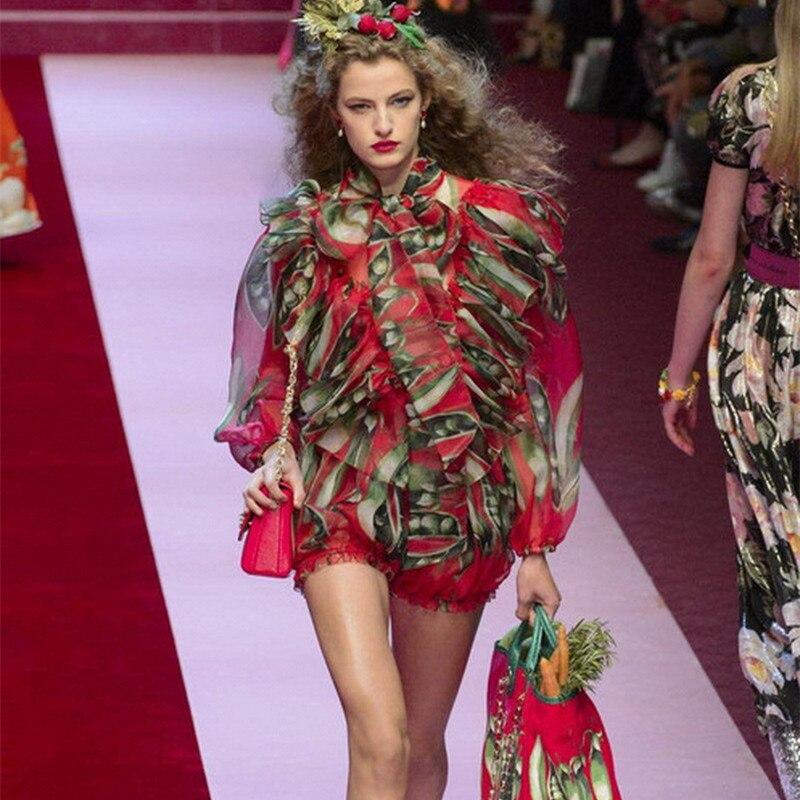 Progettista di Marca di lusso Set di Pista delle Donne di Modo Del Manicotto Della Lanterna Pisello Stampa Chiffon Camicetta Rossa Stretch Shorts Set