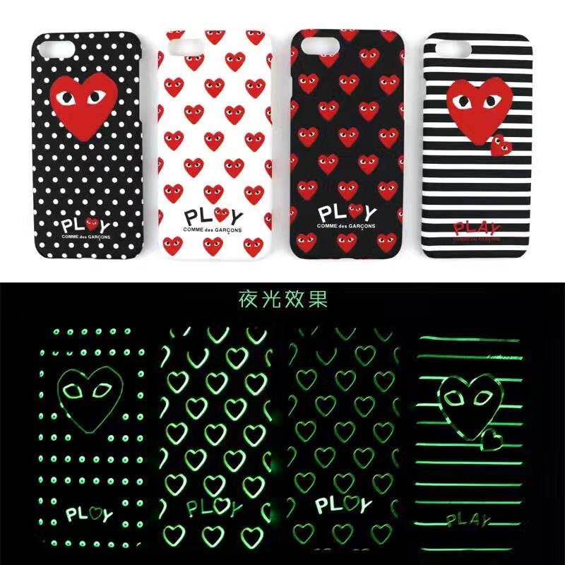 check out a44dc e8df3 luxury Protection Luminous CDG Comme Des Garcons Phone Case for iphone 7  7plus PLAY logo Japan brand frosted hard Cover
