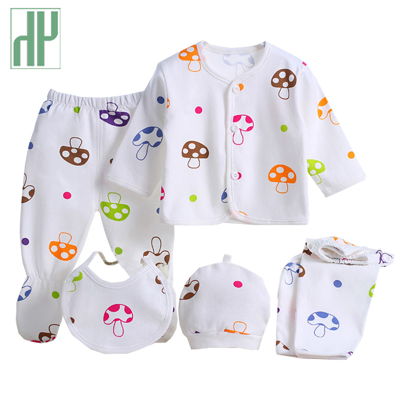 HH Brands 5pcs/set summer baby clothes tiny cottons baby girls boys Cartoon mushroom newborn clothes tracksuit 0-3 months