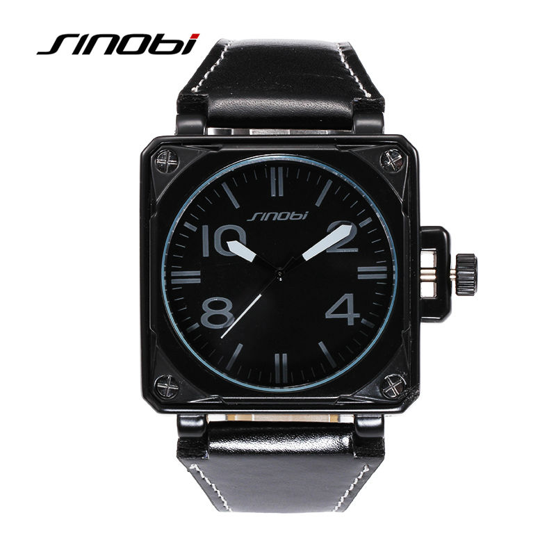 SINOBI Brand top leather men s watch Square Copper Men s quartz watch Military waterproof casual