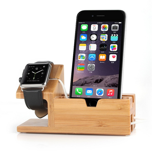 Hot Healthy For Apple Watch Charger Dock Wooden Bamboo Stand Phone Holder For iPhone 6S 5 5C 5S 6 4S/For i watch With Card Slot