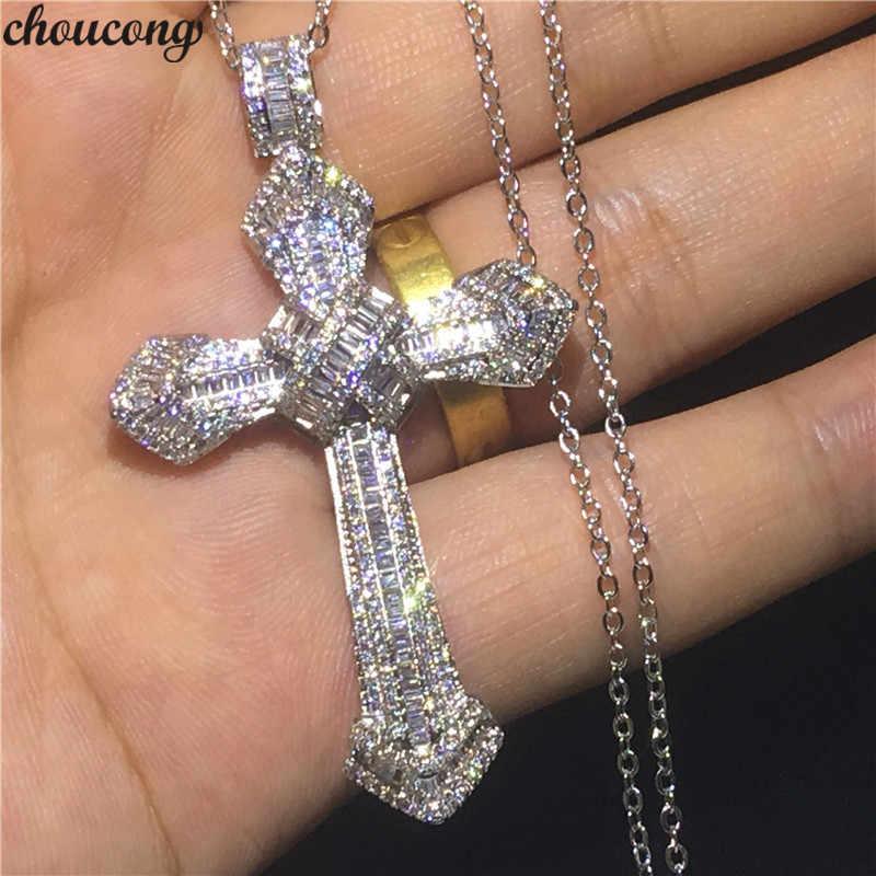 Choucong роскошный большой крест подвески 5A Циркон Cz 925 серебро Свадебный кулон с necklace ем для женщин и мужчин вечерние ювелирные изделия