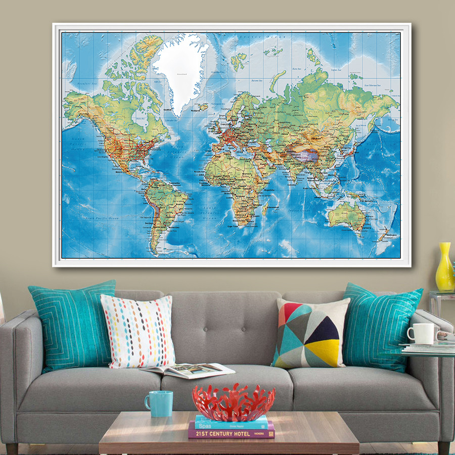 World Map High-End Exquisite Design Vintage Poster Geographical Retro Wall Art Crafts Sticker Living Room Paint Bar Cafe Decor