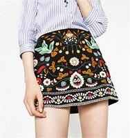 Boho Black Skirt Spring Autumn National Style Floral Embroidery Skirt Retro High Waist Cotton A Line Mini Skirt Bodycon Skirt