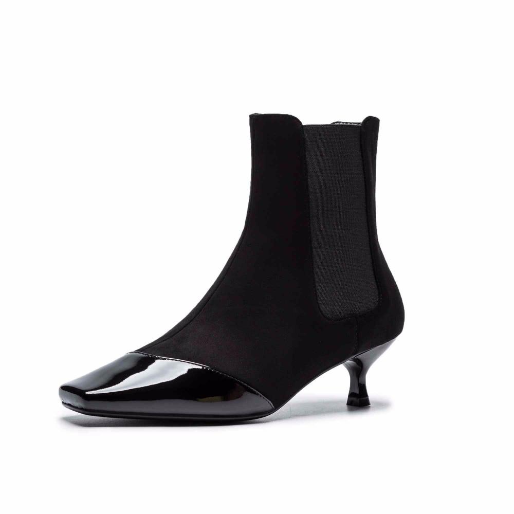 Suède Zip Streetwear Med Décoration Noir Modèles En Pointu L56 Pot Mince Bottes white Cheville Femmes Cuir De Talons Vache Krazing Bout q8IwYn