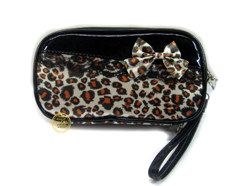 Big zebra print popular cosmetic bag cosmetic bag fashion make-up bag storage bag belt mirror