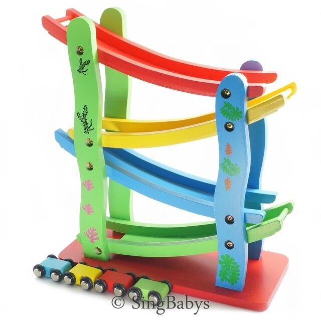 wooden wood toy racer race track for kids flip flop car track game