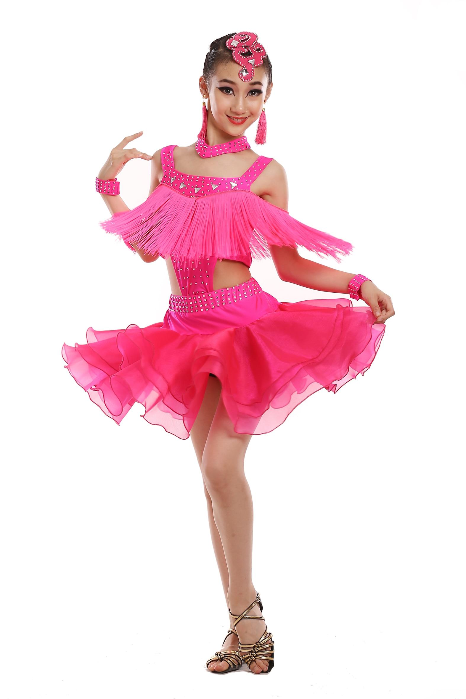 Personalizar chica negro/blanco/rojo Latino vestido de danza niños ...