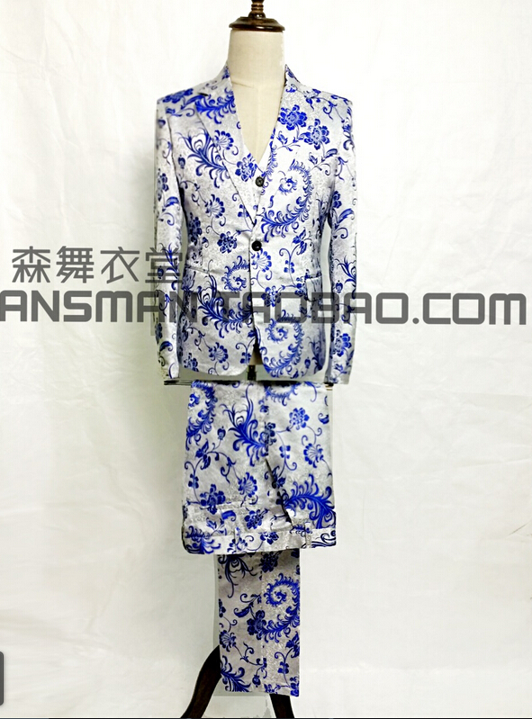 Chinese Style Costumes Men Singers Chinese Blue And White Porcelain Suit Sets The Host Blazer Party Dress ! ( suit+vest+pant )