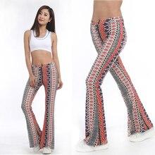 Rylanguag American Clothing Tribal Vertical Aztec print Bell Bottom Legging Soft Women Flare pant Wide leg Printed