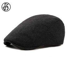 FS фетровый берет, шапка для женщин или мужчин, Осень-зима, Новые Стильные Черные Плоские береты, кепка в винтажном стиле, одноцветная Кепка с козырьком