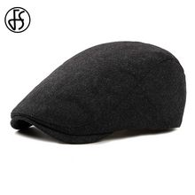 FS Felt Beret Hat For Women Or Men Autumn Winter 2018 New Stylish Black Berets Flat Cap Vintage Solid Color Casquette Visor(China)