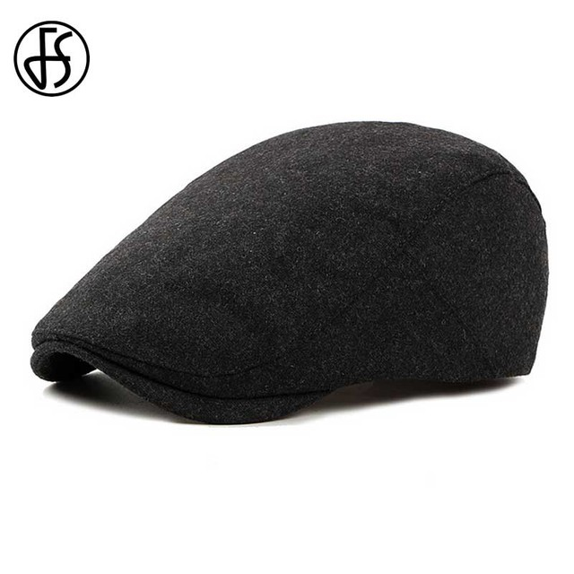 c7ffac1f FS Felt Beret Hat For Women Or Men Autumn Winter 2018 New Stylish Black  Berets Flat