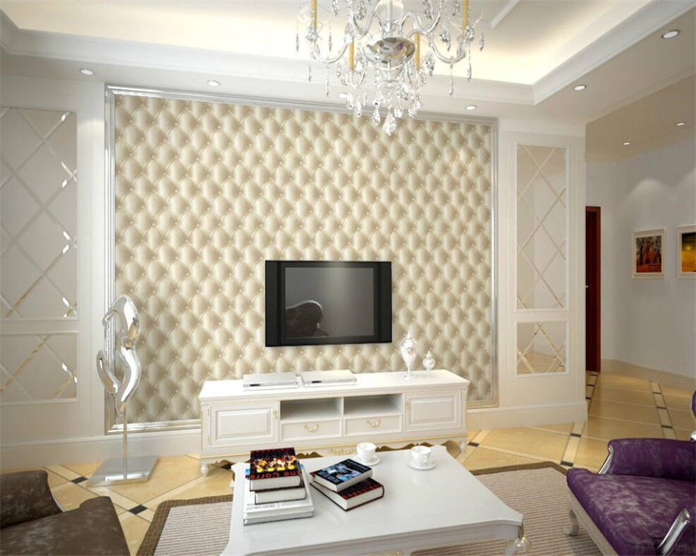 Beibehang European style imitation leather wallpapers 3D soft bag ...