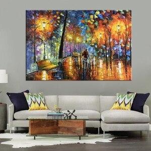 Image 4 - Большая Ручная роспись влюбленный дождь уличный светильник нож пейзаж масляная живопись на холсте настенное искусство для гостиной домашний Декор картина
