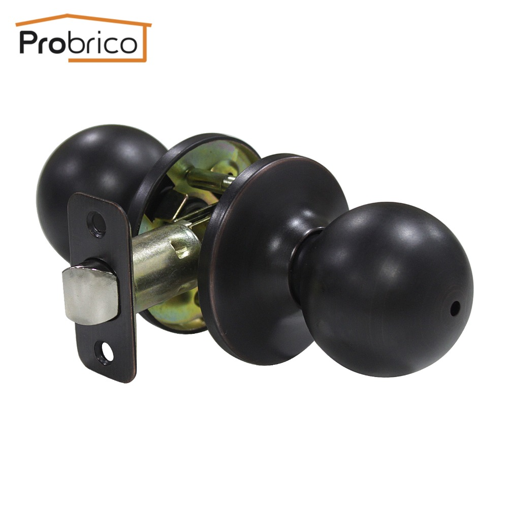 Probrico 10 PCS Privacy Door Lock Stainless Steel Safe Lock Oil Rubbed Bronze Door Handles Door Keyless Lock Knobs DL5763ORBBK allen roth brinkley handsome oil rubbed bronze metal toothbrush holder