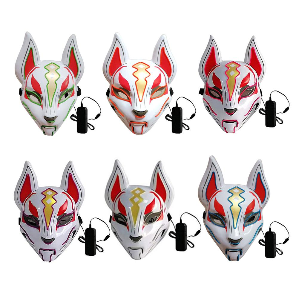 Halloween Cold Light Mask Prom Party Fox Mask Hand Made Fox Style Full Face Mask Cosplay Tassels Small Bells Masquerades in Party Masks from Home Garden