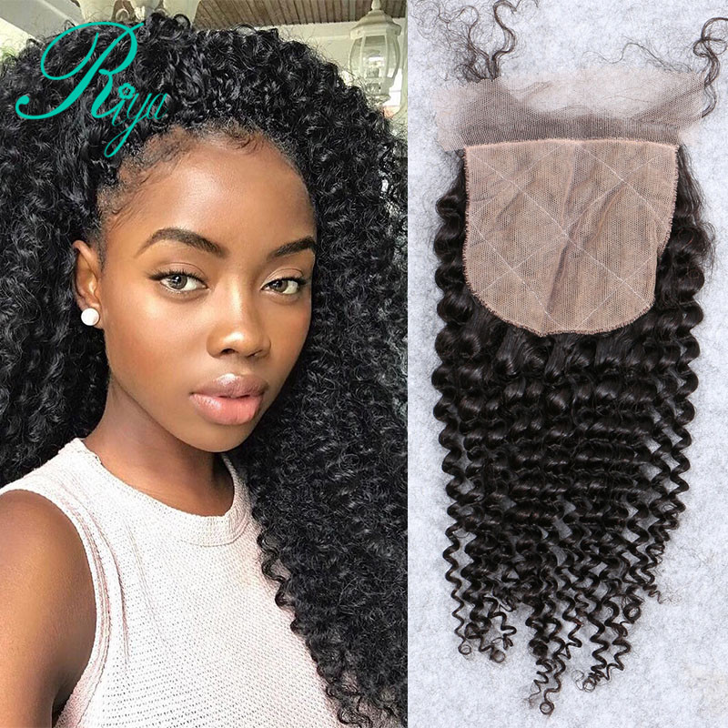 Riya Hair Silk Base Closure Free Part Mongolian Kinky Curly Remy Human Hair 4x4 Middle Brown
