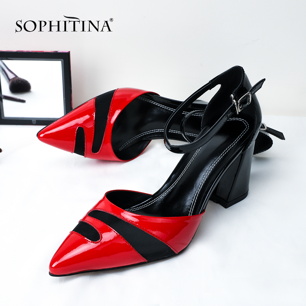 SOPHITINA Sexy Pointed Toe Sandals Comfortable Square Heel High Quality Genuine Leather Hot Sale Shoes Mixed