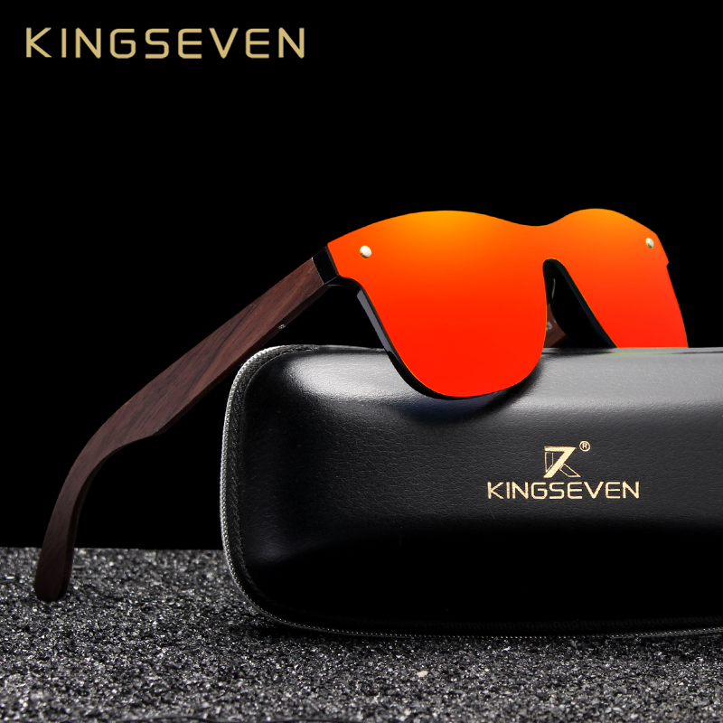 KINGSEVEN 2019 Handmade Walnut Wooden Eyewear Polarized Mirror Sunglasses Men Women Vintage Design Oculos de sol masculino UV400 1