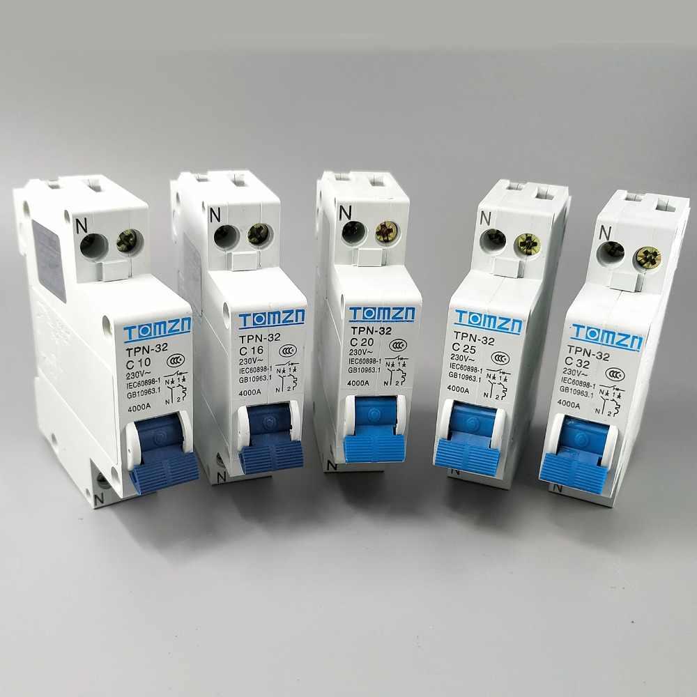 TPN 1 P + N мини-выключатель MCB 10A, 16A, 20A, 25A, 32A