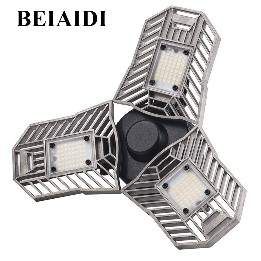 BEIAIDI 60W E27 Led Deformable Garage Lamps 6000LM Radar Sensor LED Studio Basement Light Garage Industrial