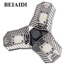 BEIAIDI 60 Вт E27 светодиодный деформируемого Garage лампы 6000LM радар Сенсор светодиодный Studio подвале свет гараж промышленных склад свет