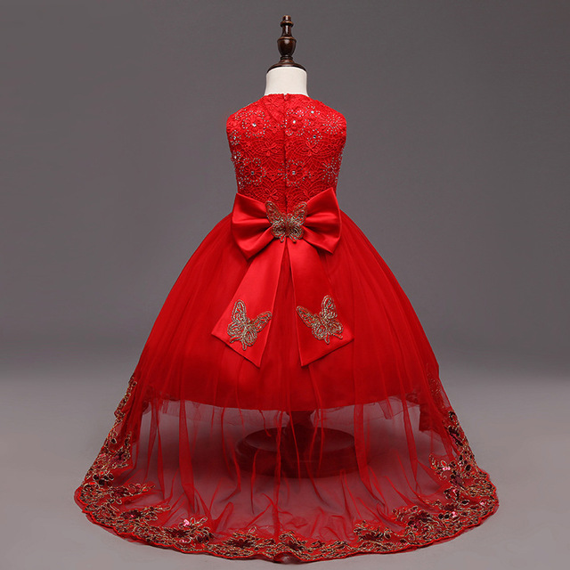 Red Embroidery Flower Dress Kids Bow Sequin Clothes For Wedding Party Long Tail Summer