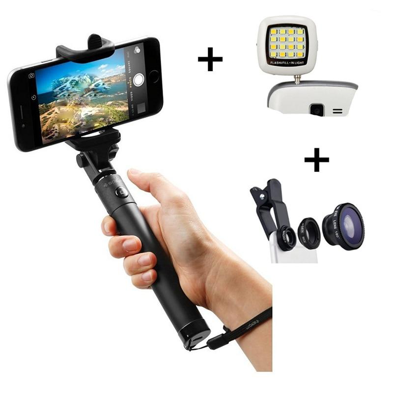 universal 3 in 1 selfie stick monopod selfie flash light fisheye lens for. Black Bedroom Furniture Sets. Home Design Ideas