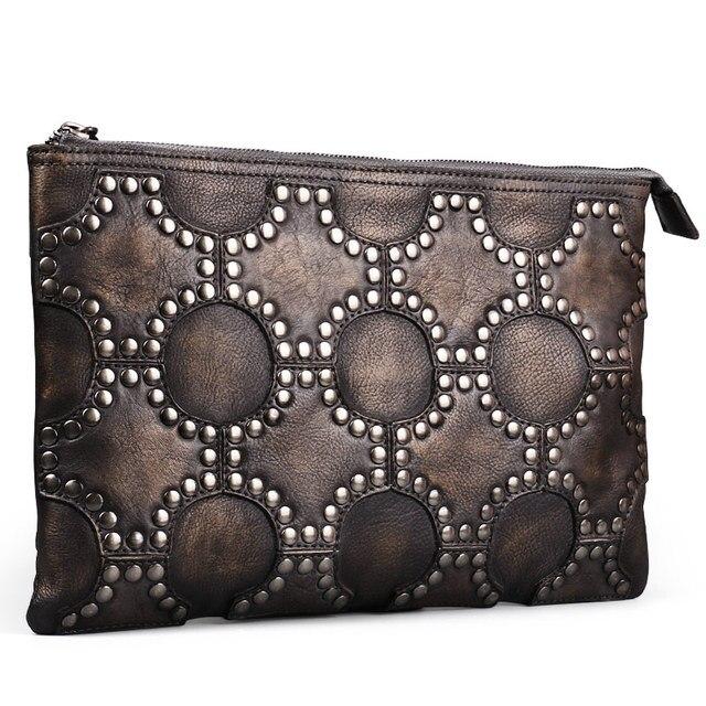 7dd360abb9fe Ruil 2017 New men s wallet Genuine Leather retro style personality handmade  ameikaji woman zipper Handbag coin purse Waist bag