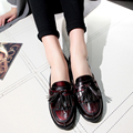 Fashion Fringe Women Casual Retor Loafers Woman Genuine Leather Leisure Small Square Toe Flats Platform Shoes Ladies Size 34-41