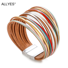 ALLYES Leather Bracelets for Women 2019 Fashion Jewelry Mulitlayer Wide Wrap Bracelet Female
