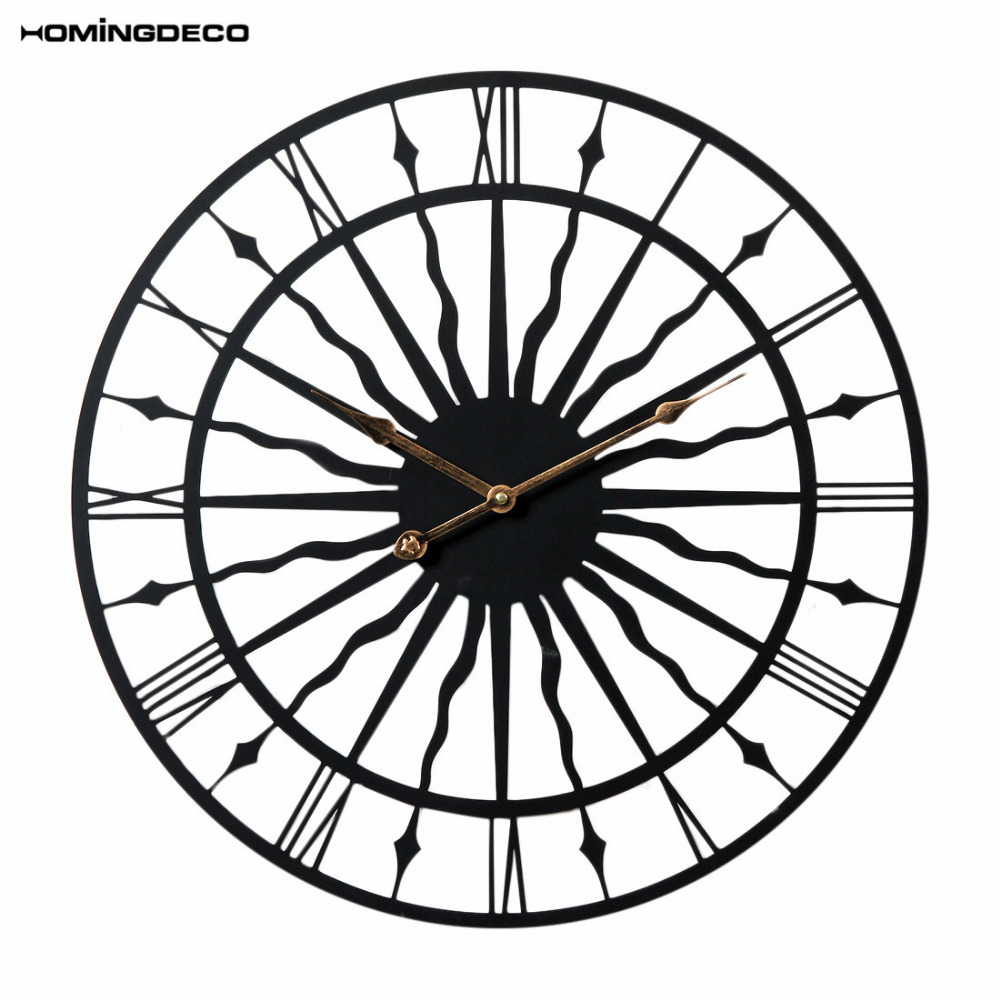 Homingdeco 20 pouces créatif rétro rond horloge murale ménage ondulé motif fer à suspendre horloge murale maison décor domestique 50 CM