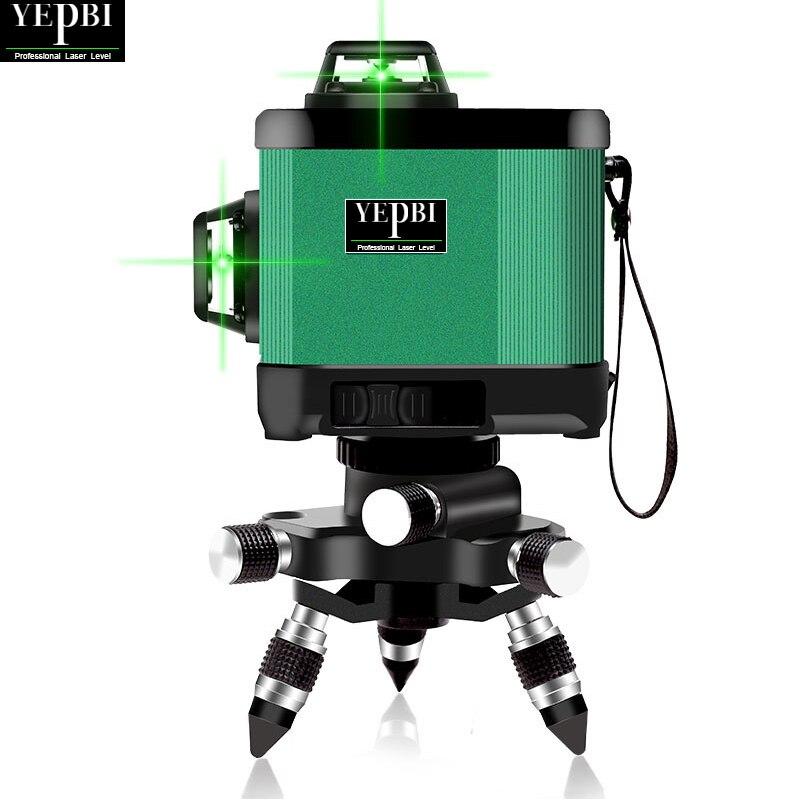 Yepbi Nivel Laser 360 Autonivelante 12 Line Laser Level Self leveling Vertical and Horizontal Cross 3D Green Construction Tools