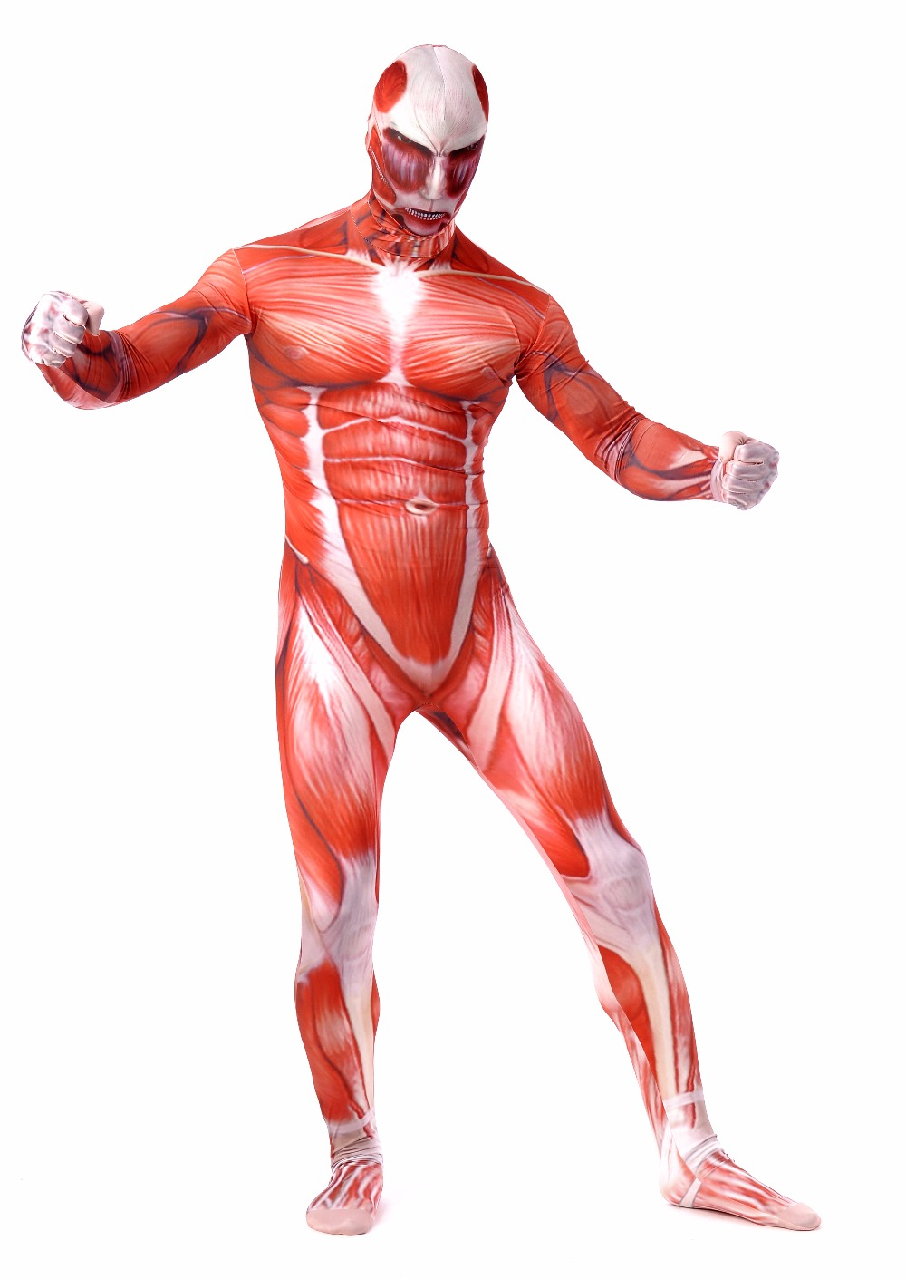 Attack on Titan Colossal Titan Cosplay Costumes Adult Lycra Spandex Full Zentai Bodysuits Men Muscle Suit Second Skin Tight Suit