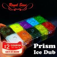 10Colors Box Steelhead ICE DUB DUBBING DISPENSER Holographic Fiber Fly Tying Material For Nymph Wet Flies