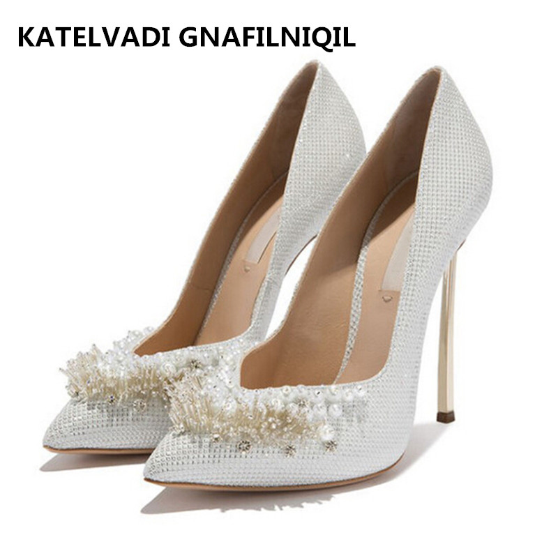 Brand Wedding Shoes Woman High Heels Women Pumps Sexy Pointed Toe High Heels Fashion Ladies Party Shoes Woman White Heel FS-0139 brand womens shoes high heels women pumps 12cm heels blue shoes woman pumps sexy pointed toe high heels wedding shoes b 0056