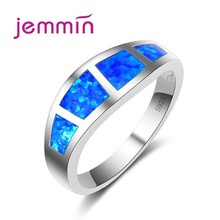 Jemmin Simple Men Rings With Blue Opal Stone 925 Sterling Silver Women Ring For Engagement Wedding Jewelry Accessory Bague Femme
