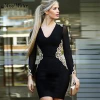 Miss Water New Celebrity Party Bodycon Bandage Dress Women Long Sleeve V Neck Embroidery Sexy NightClub Dress Women Vestidos