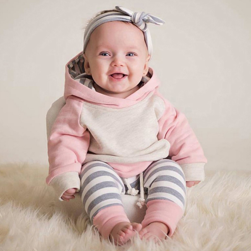 2017 Newborn Clothes Toddler Baby Boy Girls Dresses Set Long Sleeve Hooded Tops Striped Trousers Headband Outfits 3 Pieces