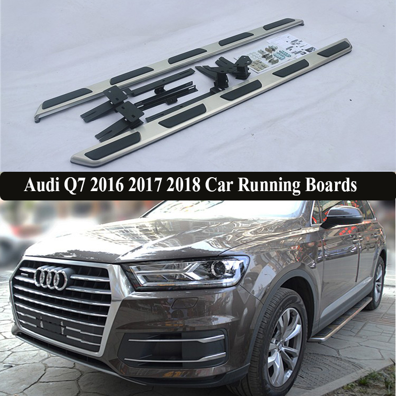 JIOYNG For Audi Q7 2016 2017 2018 Car Running Boards Auto Side Step Bar Pedals Brand New Nerf Bars