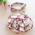 Floral Baby Bloomer Set Baby Ruffle Bloomer Headband Set Newborn ruffle diaper cover baby photo outfit 1set