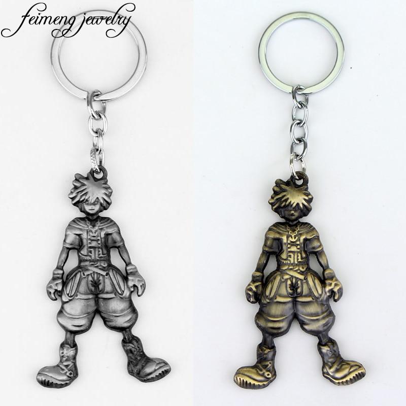 Kingdom Hearts 2 Sora Figure Sign Keychain Key Ring Pendant Bronze Color